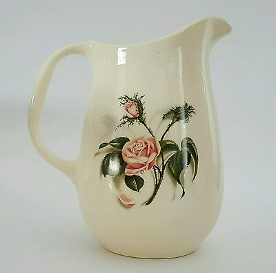 Universal Cambridge Tall Pitcher Union Made in USA Rose Pattern Vintage
