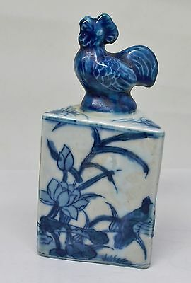 Rare Antique Porcelain Chinese Seal With Rooster ~ 5'' Tall  ~