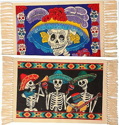 """PLACEMATS (Set of 2) Day of the Dead CATRINA blue & MARIACHI  13""""x19"""""""