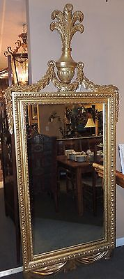 Large Antique 19th Century French Gilt Wood Mirror  wood & gesso vintage gold