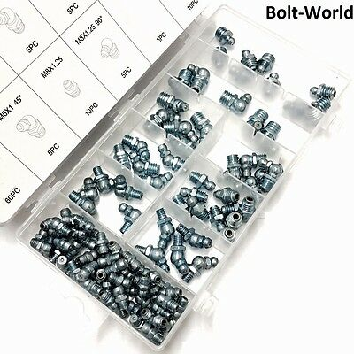 110Pc GREASE NIPPLES FITTINGS M6 M8 M10 45° 90° ASSORTED NIPPLE SET CARBON STEEL