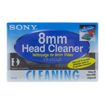 """Sony V8-25CLD 8mm/Hi8 /Digital8 Camcorder Video Head Cleaning Tape """"New Sealed"""""""
