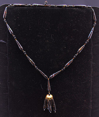 "Antique Victorian Black Glass Tear Drop Bead Mourning 22"" Necklace"