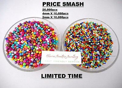 JEWELLERY WHOLESALE BULK SEED BEADS GLASS X20,000pcs 2mm & 4mm SUIT MEMORYWIRE