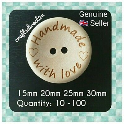 """HANDMADE WITH LOVE"" Wood Buttons - Scrapbooking - Crafting - Sewing UK"