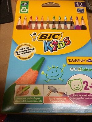 BIC Kids Evolution Triangle ECOlutions Colouring Pencils Pack of 12 - UK SELLER