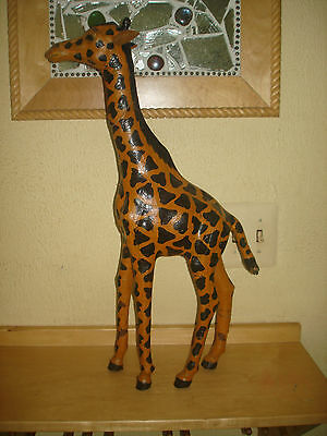 """Giraffe Figure Large Almost 23"""" Made In India Seems Old Fantastic Patina Nice !!"""