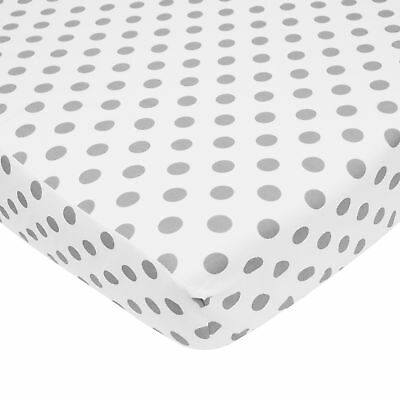 American Baby Company 100% Cotton Percale Fitted Crib Sheet  White with Gray ...