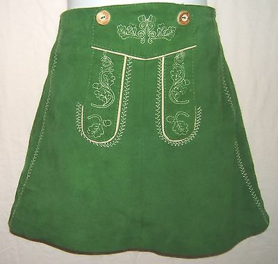 Austrian Authentic Strassny Trachten Soft Leather Skirt Lederhosenlook Sz. EU 92