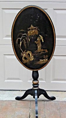 Antique Chinese Tilt-Style Spirits Table With Gilt Scene On Black Lacquered Top