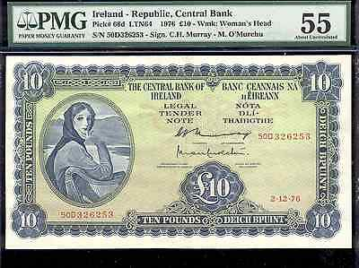 bucksless 1849: PMG55 IRELAND REPUBLIC 10 POUNDS 1976 , P-66d - GREAT BRITAIN