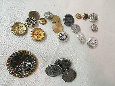 Vintage 21 silver & gold tone plastic & metal Buttons Coat of Arms Anchors
