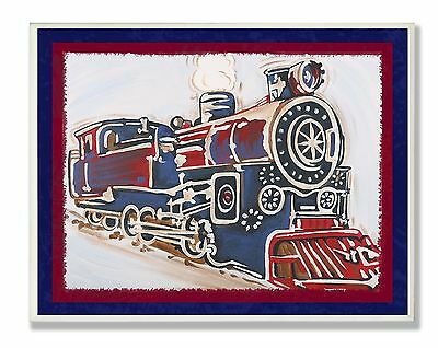 The Kids Room by Stupell Blue and Red Vintage Train Rectangle Wall Plaque