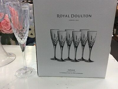 ROYAL DOULTON CRYSTAL EARLSWOOD 6x CHAMPAGNE FLUTE GLASSES GLASS NEW BOX