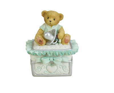 Cherished Teddies Baby Boy Trinket Box Porcelain First Curl Baby Newborn Square
