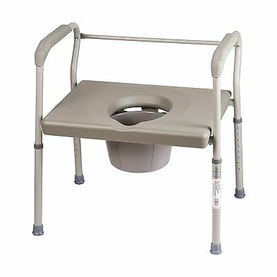Duro-Med Commode Chair Heavy-Duty Steel Commode Toilet Chair Toilet Safety Fr...