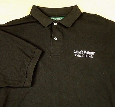Captain Morgan Private Stock Black Golf Polo Shirt Sz XL Rum Outer Banks EUC