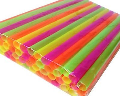 "50 SMOOTHIE STRAWS! ASSORTED NEON - SUPER-WIDE(TM) 1/2"" X 10 1/2""! Poly Bagge..."