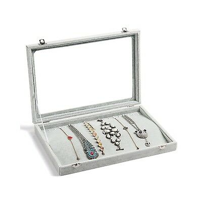 Valdler Clear Lid 20 Hooks Jewelry Necklaces Tray Showcase Display Storage C