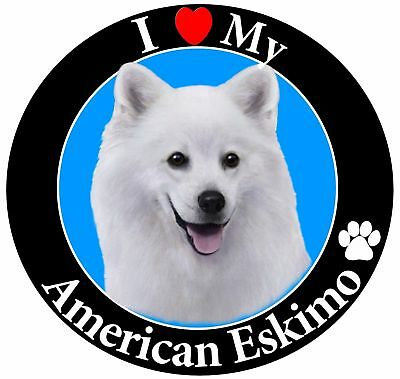 """I Love My American Eskimo"" Car Magnet With Realistic Looking American Eskimo..."