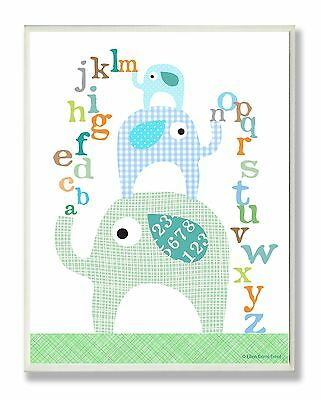 The Kids Room by Stupell Blue Elephants with Alphabet Rectangle Wall Plaque
