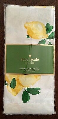 KATE SPADE NEW YORK~Make Lemonade~LEMONS~Square Cloth Napkins~Set of 4~NEW PKG!