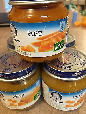 12 Jars GERBER Baby 2nd Foods 3 Carrots & 9 Squash 4oz