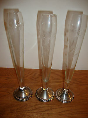 3 VINTAGE DUCHIN CREATIONS ETCHED CRYSTAL BUD VASES with STERLING BASE 9 1/2""