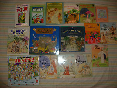 MIXED Lot of 16 CHRISTIAN CHILDREN'S BIBLE STORIES  BOOKS