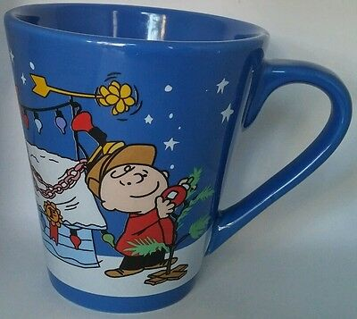 Peanuts Coffee Mug A Charlie Brown Christmas Cup Blue 10 oz Collector's Item Zak