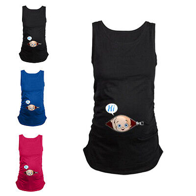 Women Peculiar Pregnant Tank Top Funny Blouse Summer Maternity Wear Vest Clothes