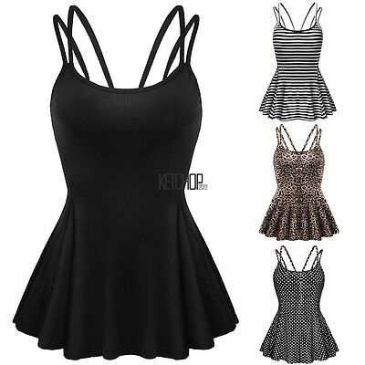 Womens Casual Strap Point Backless Designed Sleeveless Flare Tops  Blouse KECP