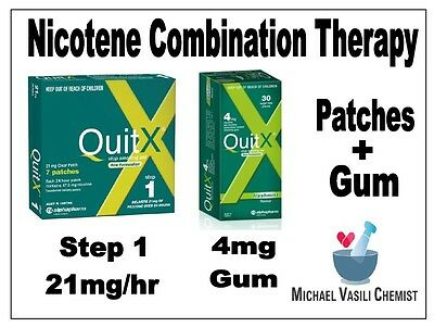 QUITX STOP Smoking COMBINATION THERAPY 7x21mg Patch & 30x4mg Nicotine Gum