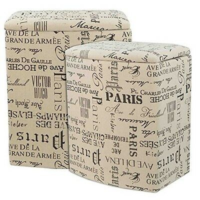 Home Basics LH45122 2Pc Faux Jute Hamper Set Paris NEW
