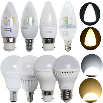 3/6x 5W E27 B22 B15 E14 LED Candle Bulbs Globe Light Lamp Energy Saving Day Warm