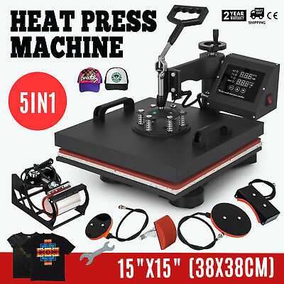 "15""x15"" 5IN1 Combo T-Shirt Heat Press Transfer Digital Clamshell Swing Away"