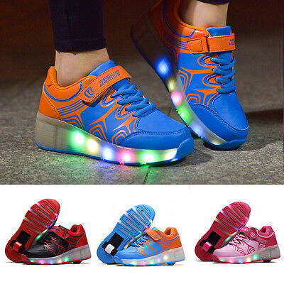 Sneaker Roller Skates Kids Gift Boys LED Light Wheel Lace up Shoes for Children