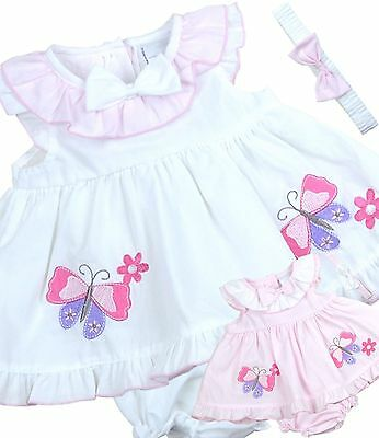 BabyPrem Baby Dress Bloomers Headband Set Newborn 0-3  3-6 months Summer Outfit