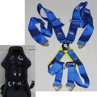 RACING CAR 4 POINT CAM LOCK RACING SAFETY SEAT BELT STRAP NYLON HARNESS Blue