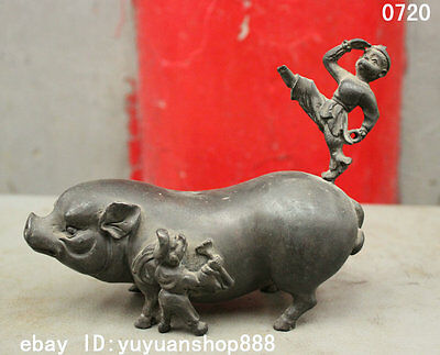 "6"" Folk Chinese Ancient Pure Bronze Happy kid Child On Fat Pig Statue Sculpture"