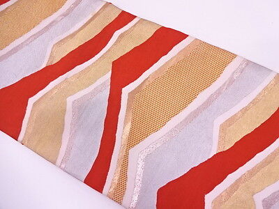 Antique Japanese Nagoya Obi For Kimono, Beautiful Craft Material, Woven Abstract