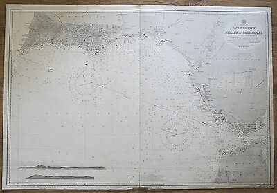 1905 Portugal Spain Cape St. Vincent To Gibraltar Vintage Admiralty Chart Map