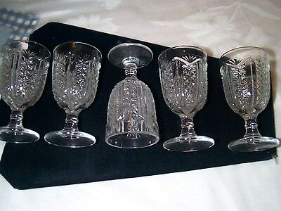 Cordials Set of 5 Pressed/Pattern Glass VERY OLD