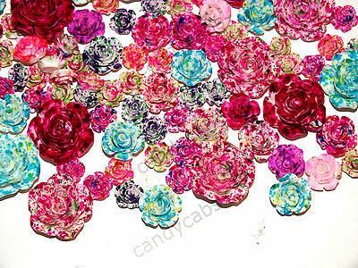 CandyCabsUK 10pcs Mixed Resin Realistic Flower Cabochon Decoden Craft KIT DIY