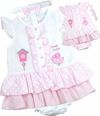 BabyPrem Baby Girls Dresses Clothes 3 Piece Set Dress Headband & Pants 9 - 23 m