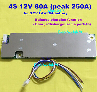 12V 4S 80A W/Balance BMS Protection PCB Board 4x 3.2V LiFePo4 18650 Battery Cell