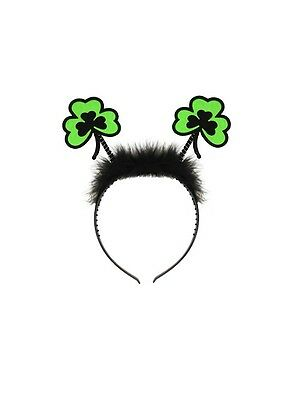 St Patricks Day Clover Shaped Head Boppers With Fur Trim on Head Band Party Fun