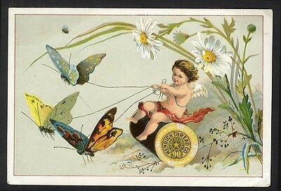 MERRICK THREAD Sewing Trade Card 1880's CHERUB on Spool with Reigned BUTTERFLIES