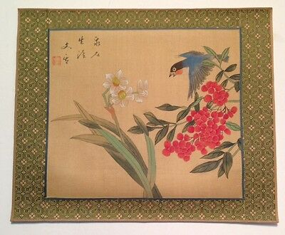 Asian vintage signed original painting on fabric blue bird daffodil berries