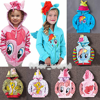 New Girls my little Pony Hoodie Wings Kids Jacket Coat Sweater Twilight Rainbow
